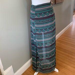 NWT Jella Couture green tribal maxi skirt